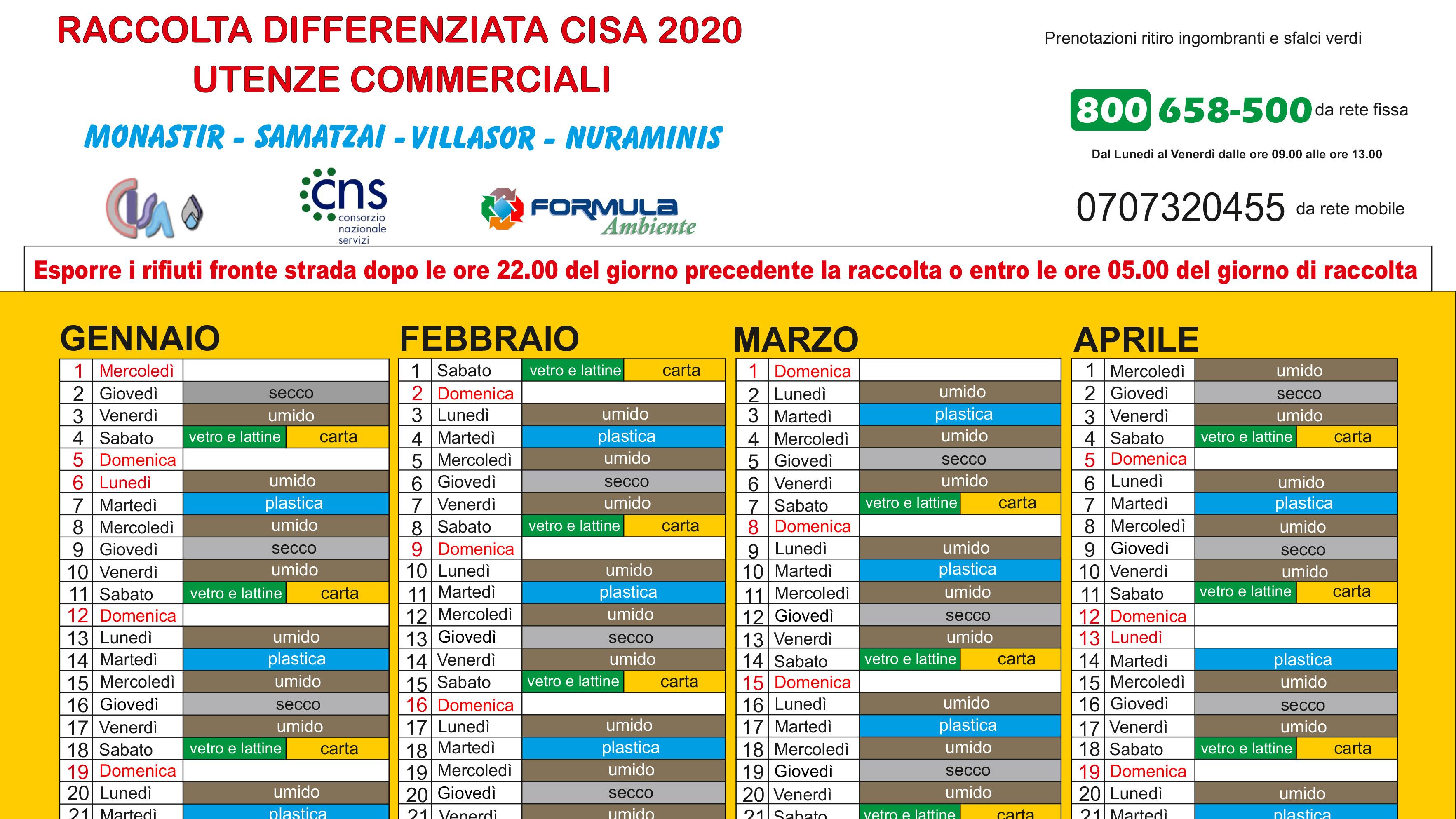 Calendario per utenze Commerciali 2020   Cisa Consorzio